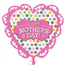 Happy Mothers Day Intricate Heart Supershape Balloons