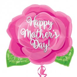 "18"" Happy Mothers Day Pink Rose Junior Shape Foil Balloons"