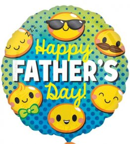 "18"" Happy Fathers Day Emoji Faces Foil Balloons"