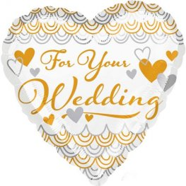 "18"" For Your Wedding Heart Foil Balloons"