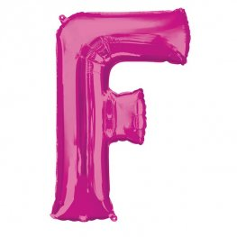 Pink Letter F Supershape Balloons
