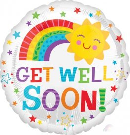"18"" Get Well Soon Happy Sun Foil Balloons"