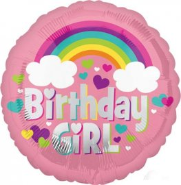 "18"" Birthday Girl Rainbow Foil Balloons"
