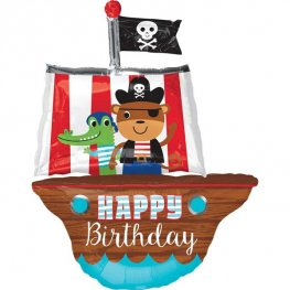Happy Birthday Pirate Ship Supershape Balloons