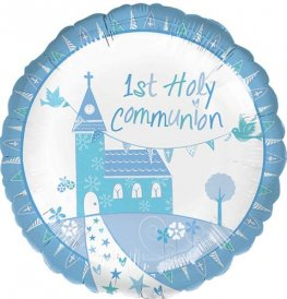 "18"" Communion Church Blue Foil Balloons"