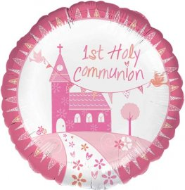 "18"" Communion Church Pink Foil Balloons"