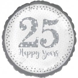 "18"" Sparkling 25th Silver Anniversary Foil Balloons"