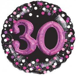 "36"" Pink Celebration Sparkling 30th Jumbo Foil Balloons"