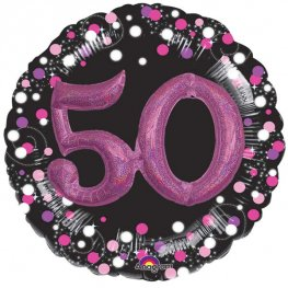 "36"" Pink Celebration Sparkling 50th Jumbo Foil Balloons"