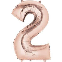 Rose Gold Number 2 Supershape Balloons