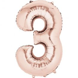 Rose Gold Number 3 Supershape Balloons