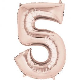 Rose Gold Number 5 Supershape Balloons