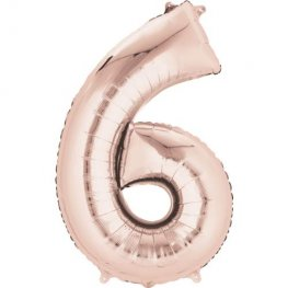 Rose Gold Number 6 Supershape Balloons