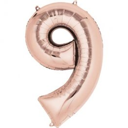 Rose Gold Number 9 Supershape Balloons