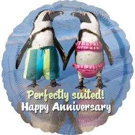 "18"" Perfectly Suited Happy Anniversary Foil Balloons"