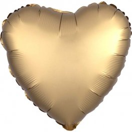 "18"" Satin Luxe Gold Sateen Heart Foil Balloons"