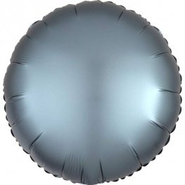 "18"" Satin Luxe Steel Blue Circle Foil Balloons"