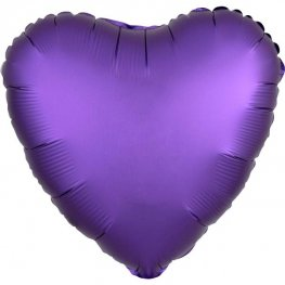 "18"" Satin Luxe Purple Royal Heart Foil Balloons"