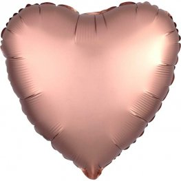 "18"" Satin Luxe Rose Copper Heart Foil Balloons"