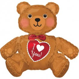 Large I Love You Sitting Bear Multi Balloons