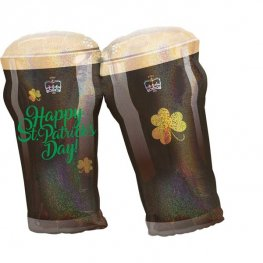 Happy St Patrick's Day Beer Glasses Supershape Balloons
