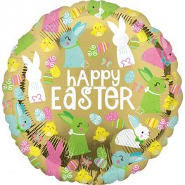 "18"" Happy Easter Gold Foil Balloons"