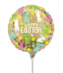"9"" Happy Easter Gold Air Filled Foil Balloons"