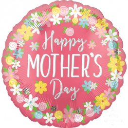 Happy Mothers Day Floral Wreath Supershape Balloons