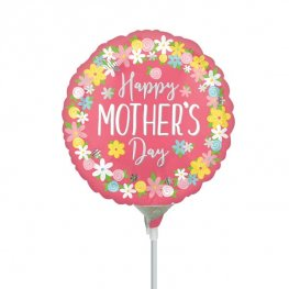 "9"" Happy Mothers Day Floral Wreath Air Fill Balloons"
