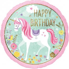 "18"" Magical Unicorn Happy Birthday Foil Balloons"
