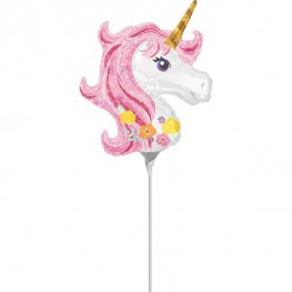 "14"" Magical Unicorn Head Mini Shape Air Filled Balloons"