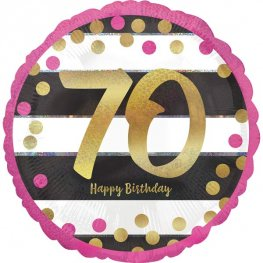 "18"" Pink & Gold 70th Birthday Foil Balloons"