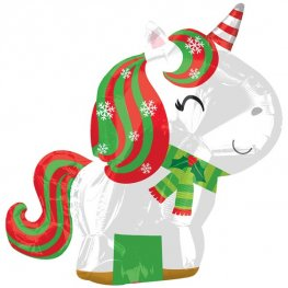 Christmas Unicorn Junior Shape Foil Balloons