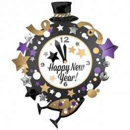 Happy New Year Clock Supershape Balloons