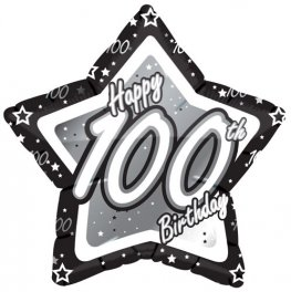 "18"" 100th Birthday Black and Silver Star Balloons"