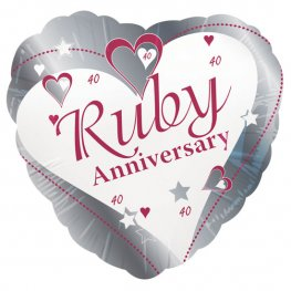 "18"" Ruby Anniversary Foil Balloons"