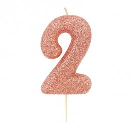 Glitter Rose Gold Age 2 Pick Candle