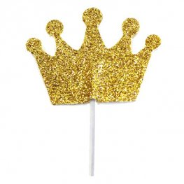 Gold Glitter Princess Crown Cupcake Toppers 12pk