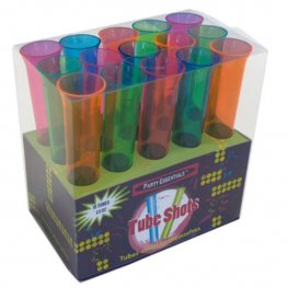 Neon Test Tube Plastic Shot Glasses x15