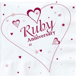 Ruby Anniversary Lunch Napkins 18pk