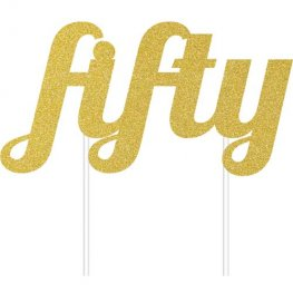 Fifty Gold Glitter Cake Topper
