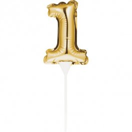 Gold Number 1 Self Inflating Balloon Cake Topper