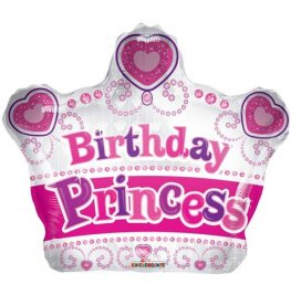 "18"" Birthday Princess Crown Shape Foil Balloons"