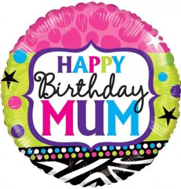 "18"" Happy Birthday Mum Bright Foil Balloons"