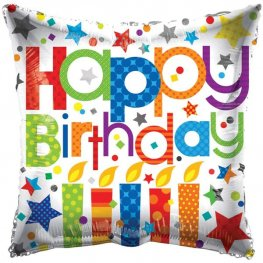 "18"" Happy Birthday Patterned Candles Foil Balloons"