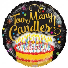 "18"" Too Many Candles Foil Balloons"