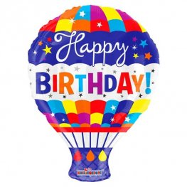 "18"" Happy Birthday Hot Air Balloon Foil Balloons"