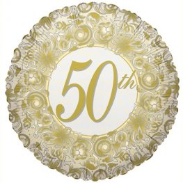 "18"" 50th Golden Anniversary Foil Balloons"