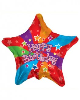 "18"" Happy Birthday Star Colours Foil Balloons"