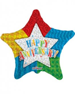 "18"" Happy Anniversary Patterned Star Balloons"
